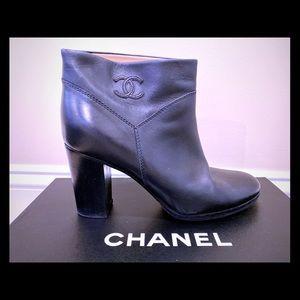Chanel black calfskin boots